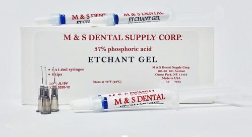 M&S Etchant Gel Syringe 4X1  Blue W\Needles