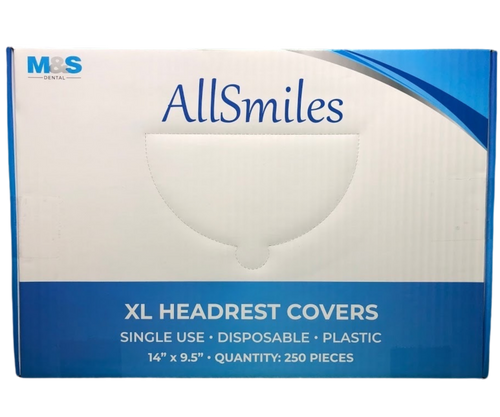 "AllSmiles Headrest Covers 14.5"" x 9.5"" - Clear 250/Case"