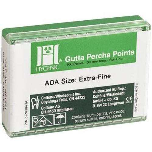 Hygenic Gutta Percha Points Conventional 100/Pk Xfine