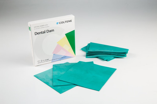 "Hygenic Ready Cut Rubber Dam Medium Green 5"" X 5"" Bx 52"