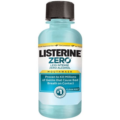Listerine Zero Mouthwash, Clean Mint, 95mL (3.2 Oz), 24/Cs