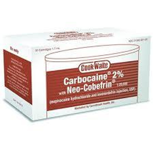 Carbocaine 2% w/Neo-Cobefrin 1.7 mL 50 Cart/Box