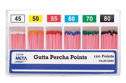 Gutta Percha Points #40 Color Coded 120 Points Sliding