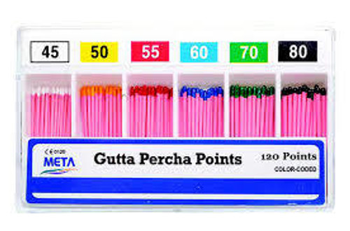 Gutta Percha Points #60 Color Coded 120 Points Sliding