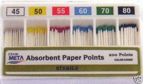 Absorbent Paper Points #45-80 Color Coded 200/Sliding Box