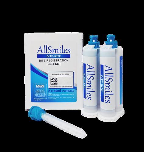 AllSmiles Bite Registration Material - Fast Set Unflavored 2X50mL 6Tips