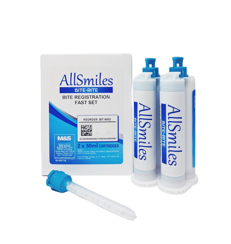 AllSmiles Bite Registration Material - Fast Set Unflavored 2X50mL 6Tips