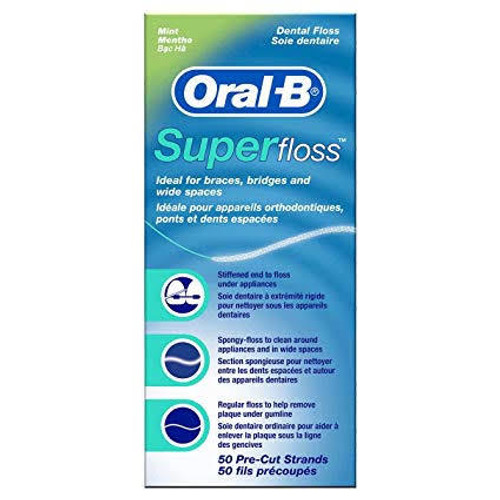 Oral-B Superfloss Office Mint Premeasured 50Pk Box-24Cs
