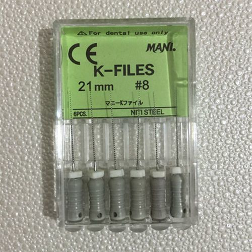 21mm #08 Stainless Steel K-Files, Hand Use With Stopper 6/Pk