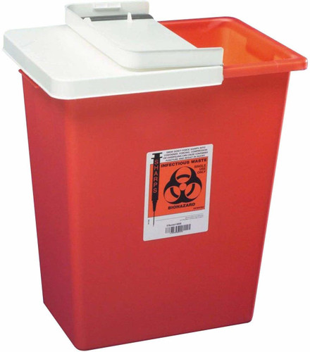 """Kendall Sharps Container 14Qt, Large,Red (6.8Wx10.6Lx17.8""""H)"""