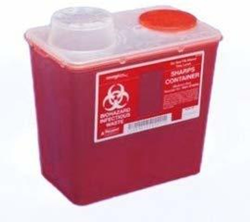 """Kendall Sharps Container 8Qt, Medium,Red (6.8Wx10.6Lx10.9""""H)"""