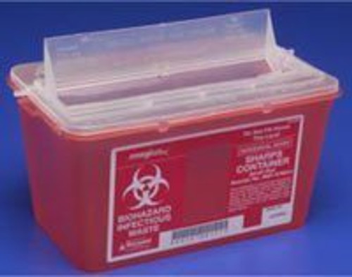 """Kendall Sharps Container 4Qt, Small, Red (6.8Wx10.6Lx7.1""""H)"""