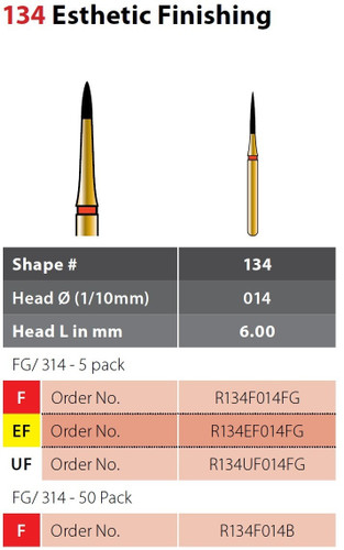 Alpen Esthetic Finishing 5Pk Fine Grit 134F014Fg