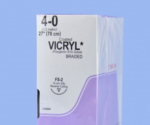 "Surgical 4-0 Fs2 Vicryl Sutures Violet Braided 18"" 19mm 3/8"