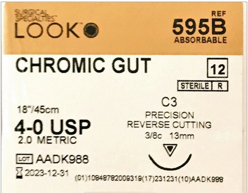 "Look Suture 595B Chromic Gut 4-0 C3 3/8 13mm 18""/45Cm"