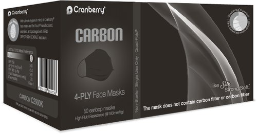 Cranberry Carbon Earloop Facemask Level 3 Black 50/bx