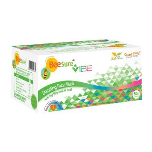 Vibe Ear-Loop Face Mask, Dazzling Green