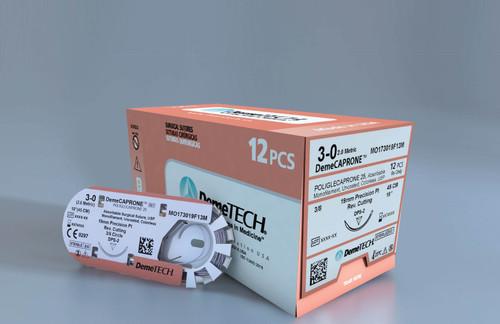 DemeCAPRONE 5-0 45cm Violet 3/8 Circle Reverse Cut Suture
