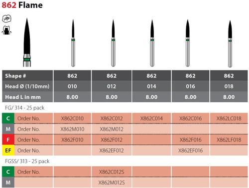 Alpen X1 Flame Finishing 25Pk, Extra Fine X862Ef016