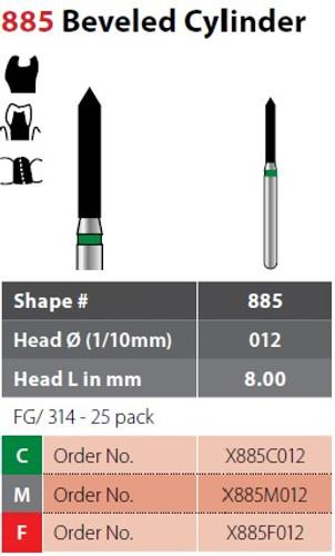 Alpen X1 Beveled Cylinder 25Pk, Coarse X885C012
