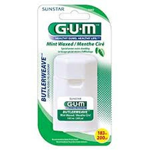 Butler-Gum Floss Butler Weave Mint Waxed 12Yd 144Pk
