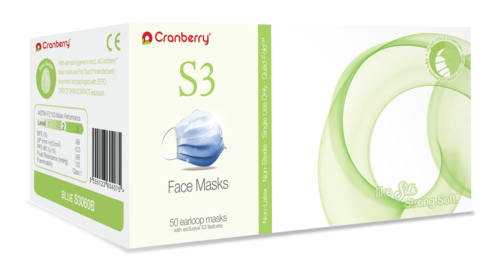 Cranberry S3 Procedural Masks - White 50/bx