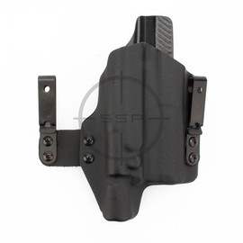 """BlackPoint Tactical RH FO3 Light Mounted Holster, Sig P320 Carry/X-Carry, Surefire X300-U B, Black, 1.75"""" Metal IWB, Threaded Barrel Open Bottom, Tall Sights"""