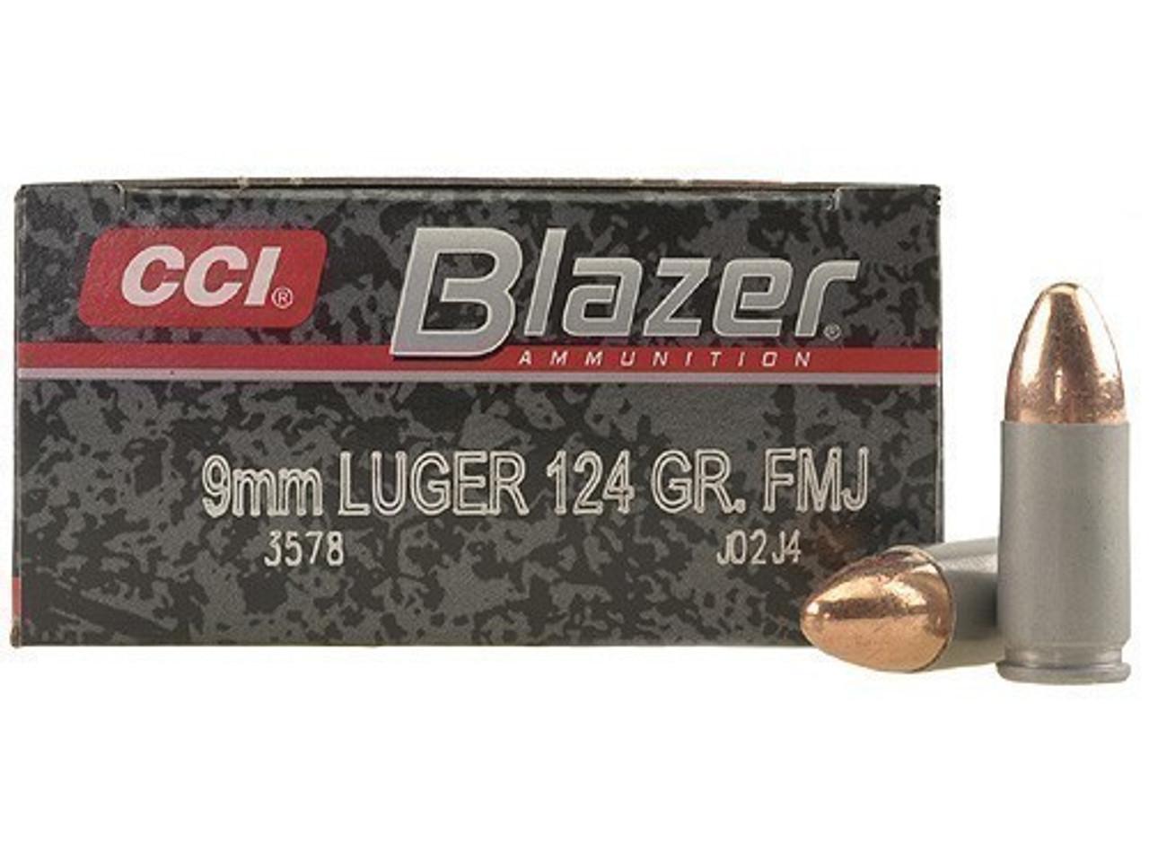 CCI Blazer Aluminum Case 9mm Luger 124gr FMJ Case of 1000