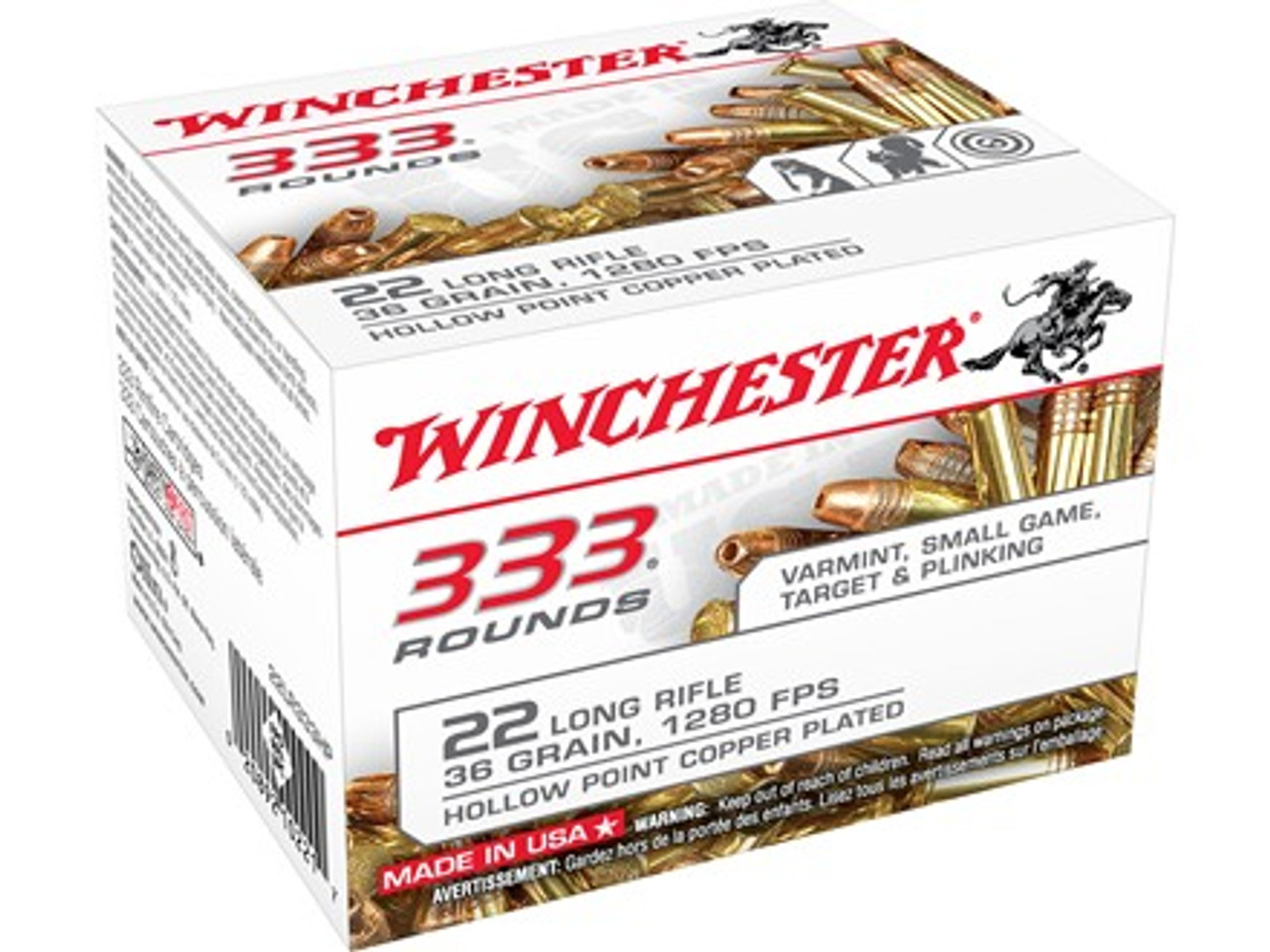 Winchester 22LR Plated Lead Hollow Point, Box of 333