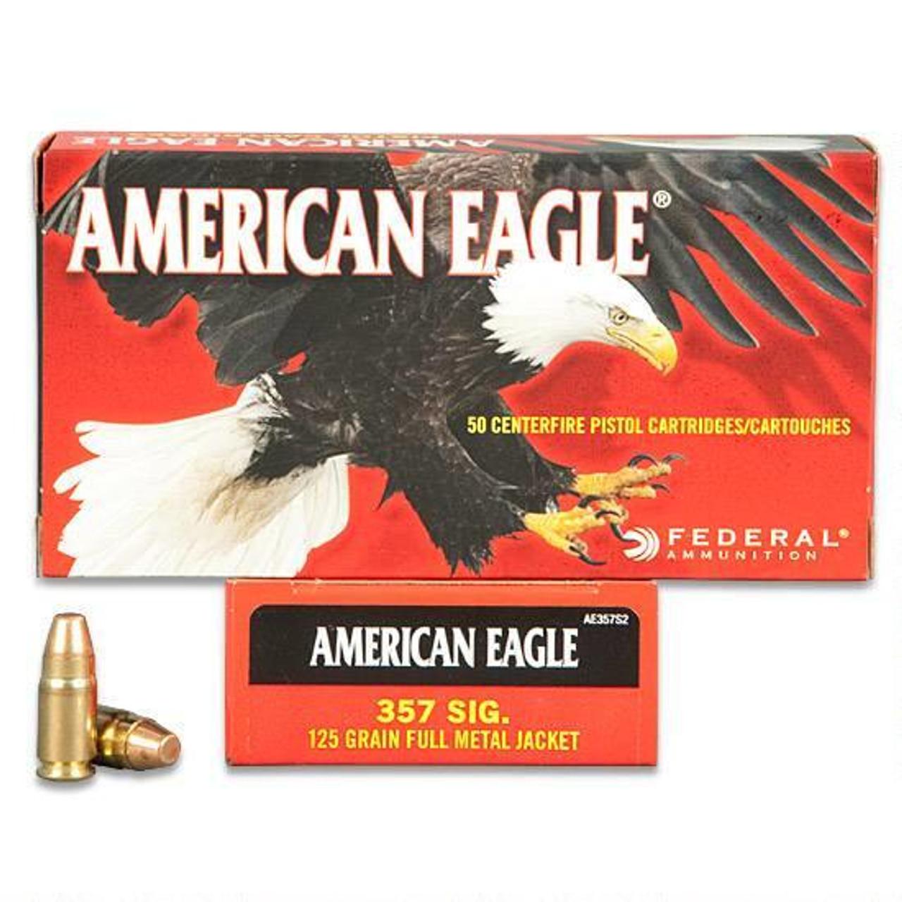American Eagle 357 Sig, 125gr FMJ, Box of 50