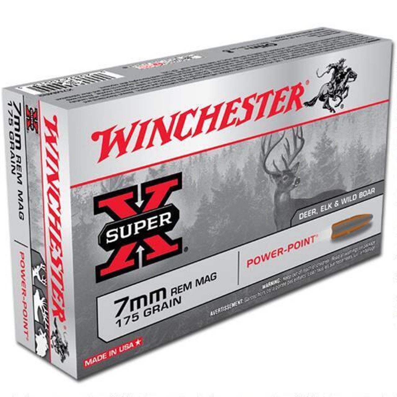 Winchester Super X 7mm Rem Mag, 175 Grain JSP, Box of 20