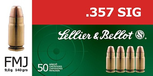 Sellier & Bellot 357 Sig, 140 gr FMJ, 50 per box