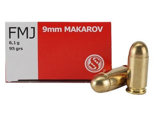 Sellier & Bellot 9mm Makarov 95gr FMJ, 50 per box