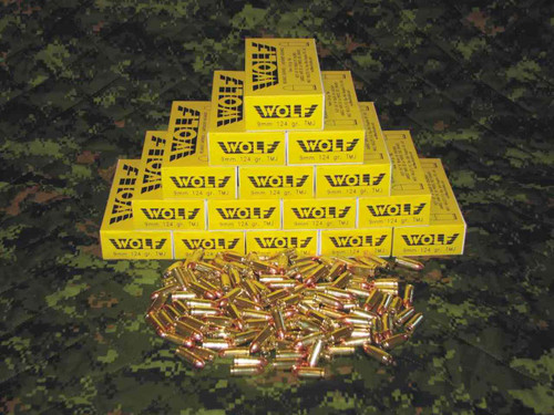 Wolf 9mm, 124gr TMJ, 1000 Rounds