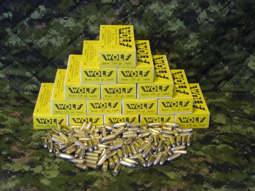 Wolf 9mm, 135gr Lead RN, Case of 500
