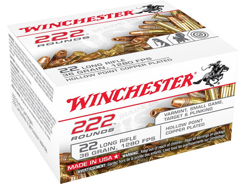 Winchester 22LR Plated Lead Hollow Point, Box of 222