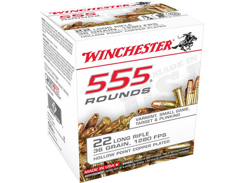 Winchester 22LR Plated Lead Hollow Point, Box of 555