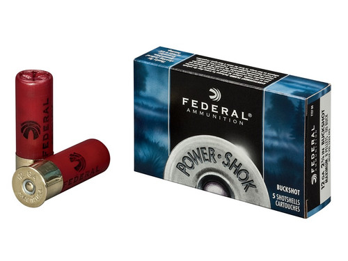 "Federal Power-Shok 12ga 2 3/4"", 00 Buck, Buffered, Box of 5"