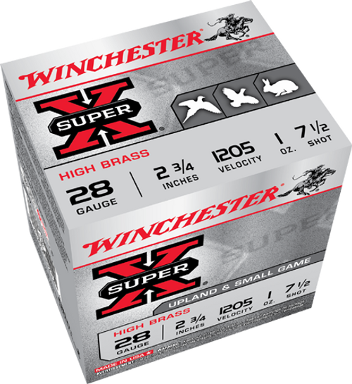 "Winchester Super X Hi Brass Game 28 Ga 2 3/4"", 1 Oz, #7.5, 25 Rds"