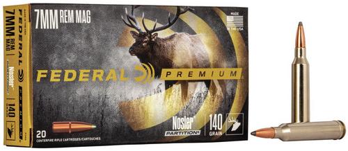 Federal Nosler Partition 7mm Rem Mag, 140 Gr, 20 Rds
