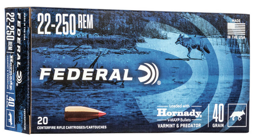 Federal Varmint and Predator 22-250 Rem, 40 Gr, 20 Rds