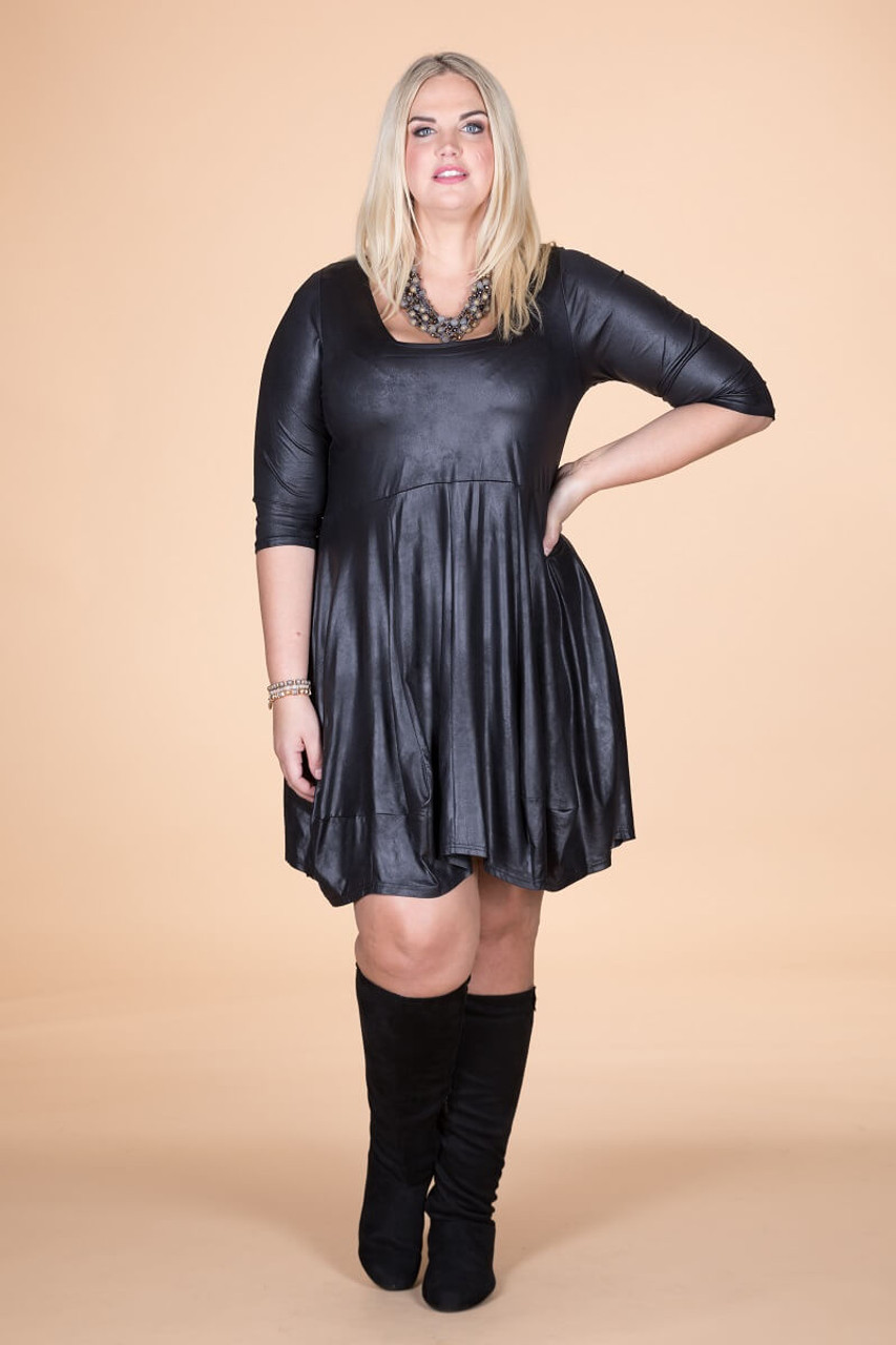 Plus Size Leather Dress | Chic and Curvy Plus Size Dresses