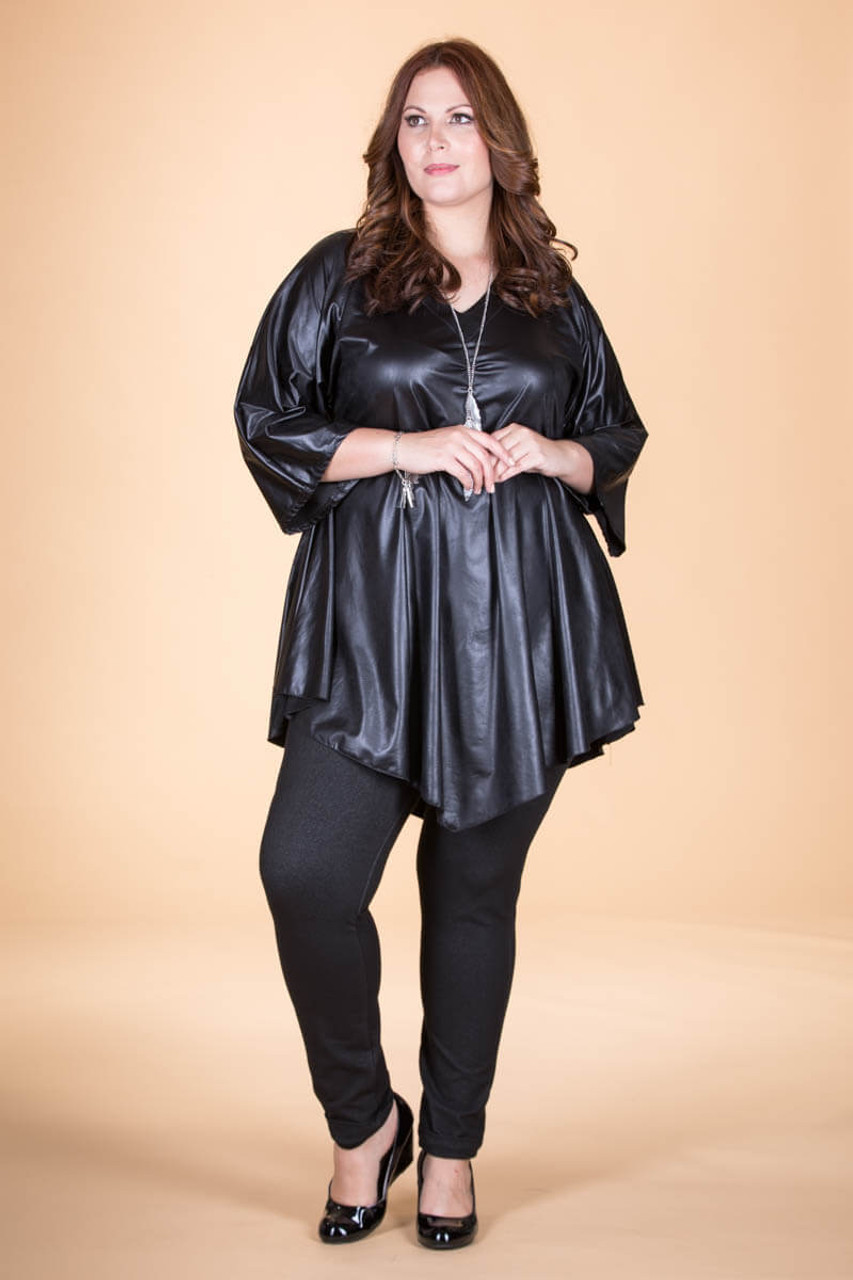74c049efbe0 Girls Just Want to Have Fun Modern Top - Black Faux Leather
