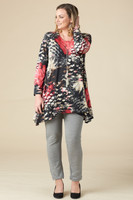 Chevron Shaped Tunic with Pocket - Animal Print