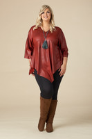 Girls Just Want to Have Fun Modern Top - Rust Faux Leather