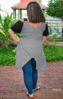 Coldest Shoulder Tunic - Black & White Stripes