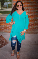 Coldest Shoulder Tunic -Mint
