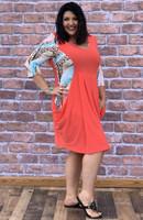 Go Figure Dress- Coral