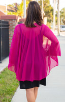 Sheer Bliss Poncho - Fushcia
