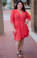 That's a Wrap Dress - Coral